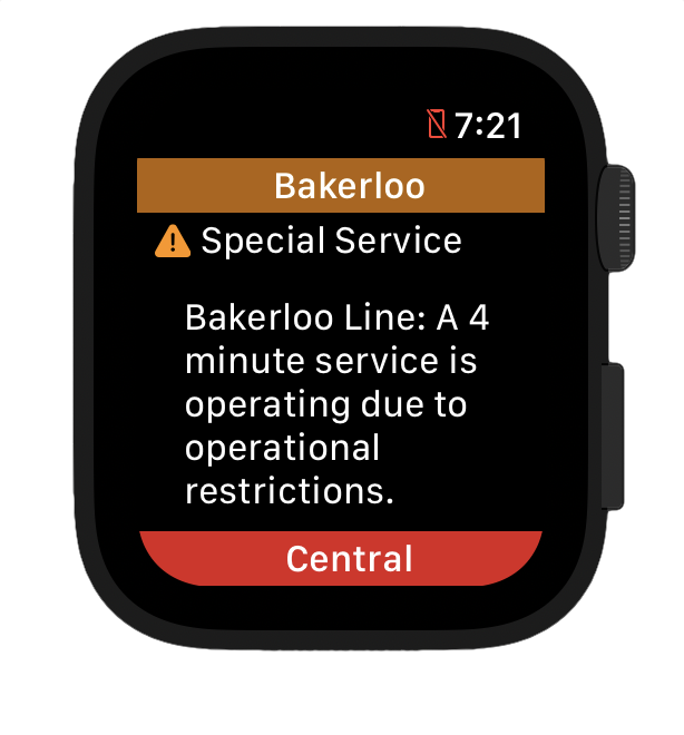 Tube Status app optimised for watchOS